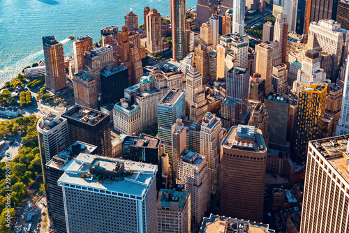 Aerial view of lower Manhattan New York City - 299203762