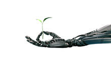 Robot Arm Holding Green Sprout...