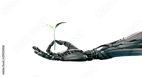 Robot arm holding green sprout in fingers, ecology green energy concept, 3d rend Fototapete