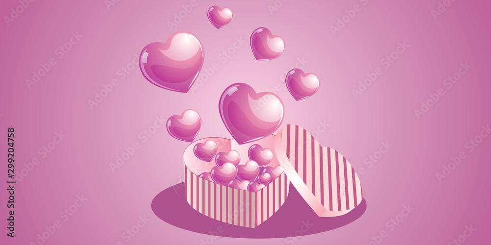 Fototapety, obrazy: Heart box illustration
