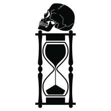 Isolated Vector Illustration. Hourglass With Human Skull On Top. Memento Mori Concept. Metaphor For Brevity Of Human Life (Vita Brevis). Black And White Silhouette.