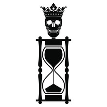 Isolated Vector Illustration. Hourglass With Human Skull In Royal Crown As A Head. Death As A King Of Life. Memento Mori Concept. Metaphor For Brevity Of Human Life. Black And White Silhouette.