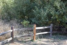 Split Rail Fence Along A Hiking Trail