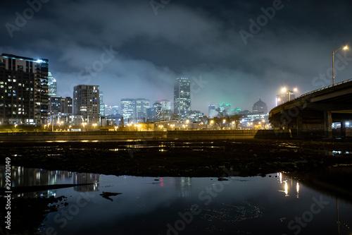 Fotografie, Tablou lac dans la ville de soir