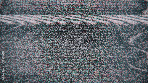 Leinwand Poster  No Signal Error Noise Lines Black and White Abstract Glitch Screen Background