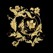 Elements In Baroque, Rococo, Victorian Renaissance Style. Trendy Floral Vintage Pattern Vector Illustration.