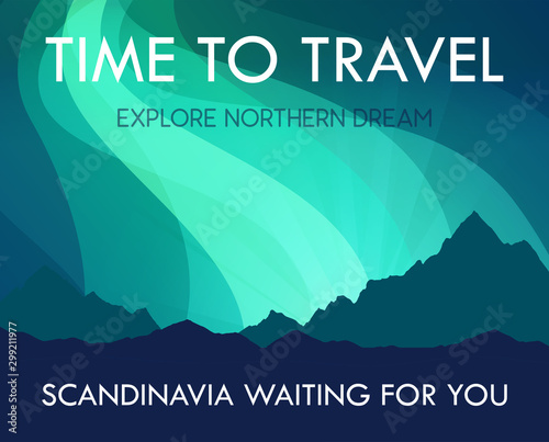 Photo sur Aluminium Vert corail Scandinavia Travel Banner template - Scenic Landscape with Aurora Northern Lights and labels and offer to travel. Vector Scandinavian Nature with Northern Mountains.