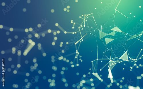 Abstract background. Molecules technology with polygonal shapes, connecting d...