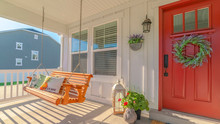 Panorama Frame Front Porch Of Alternative Home And Swinging Chair