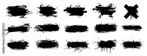 Ink splashes stencil very detailed collection. High quality manually traced. Black inked splatter dirt stain splattered spray splash with drops blots. Isolated Silhouettes dirty liquid vector grunge
