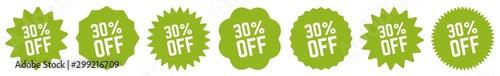 30 Percent OFF Discount Tag Green Eco | Special Offer Icon | Sale Sticker | Deal Tapéta, Fotótapéta