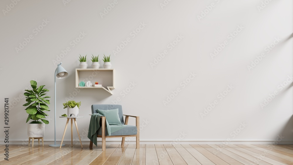 Fototapety, obrazy: Living room with wooden table and armchair.