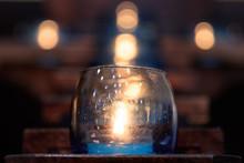 Naju-si, Jeollanam-do / South Korea - OCTOBER 16, 2019:  Large Candles In A Catholic Church With Bokeh
