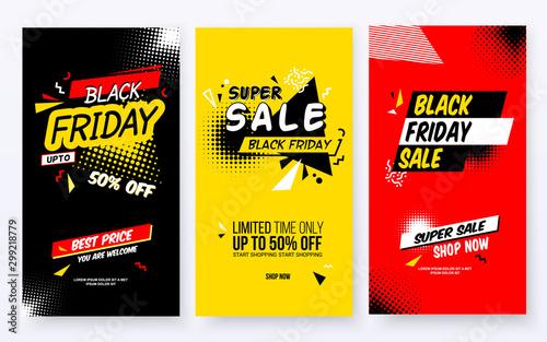 Fotografía  Set of Black Friday Sale Abstract Backgrounds.