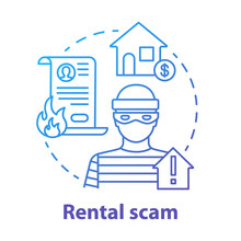 Rental Scam Concept Icon. Housing Fraud. Fake House For Rent. Leasing Swindle. Home Buying, Mortgage Criminal Scheme Idea Thin Line Illustration. Vector Isolated Outline Drawing