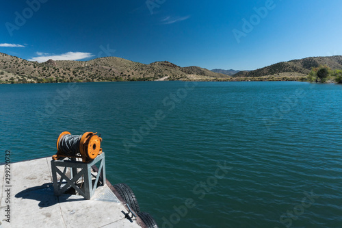Bill Evans Lake dock near Silver City in New Mexico. Canvas Print