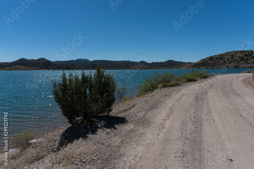View of Bill Evans Lake roadway near Silver City in New Mexico. Canvas Print