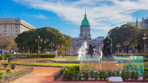 Poster Buenos Aires Buenos Aires, Argentina-20 May, 2019: National Congress plaza of Buenos Aires