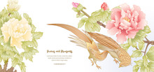 Peony Tree Branch With Flowers With Pheasants In The Style Of Chinese Painting On Silk Template For Wedding Invitation, Greeting Card, Banner, Gift Voucher, Label. Colored Vector Illustration..