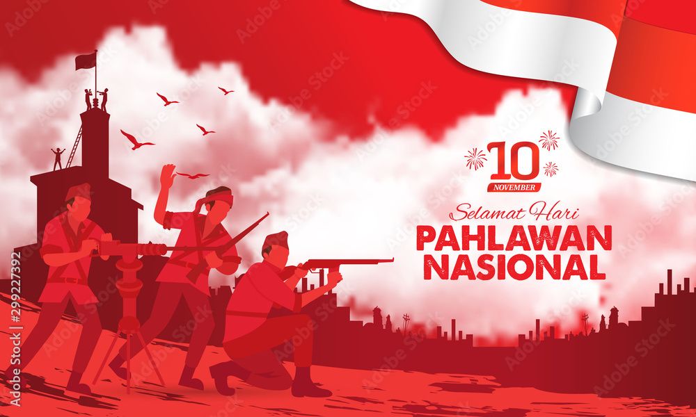 Fototapety, obrazy: Selamat hari pahlawan nasional. Translation: Happy Indonesian National Heroes day. vector illustration for greeting card