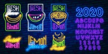 Fruits Set Neon Light, Banana, Watermelon And Lemon Neon, Summer Set, Brick Background, Ecologically Clean Organic Food For Healthy Lifestyle. EPS10 Vector Illustration.