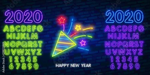 Firework neon sign Fototapeta