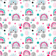 Rainbow and text seamless pattern child color naive style. Abstract hand drawn style.