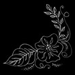 Engraved hand drawn abstract orchid. Retro flowers hand outline orchid, great design for any purposes. Outline vector. Nature background. Tropical plant. Floral design. Abstract art background