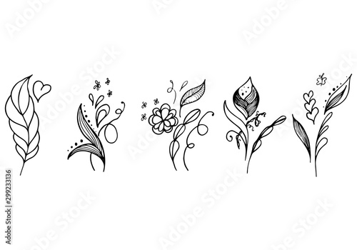 Fototapety, obrazy: Set of summer tropical flowers. Floral botanical flower set isolated on white background. Hand drawn vector collection. Botanical Hawaii nature. Tropical palm icon. Hawaiian vector tattoo illustration