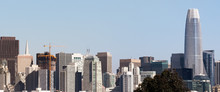 Urban Skyline In Downtown San Francisco On A Sunny Day, With Clear Blue Sky