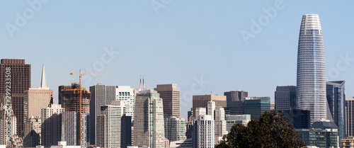 Urban skyline in downtown San Francisco on a sunny day, with clear blue sky Wallpaper Mural