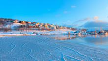 Beautiful Winter Landscape Of Residential Hillside Houses In Tromso - Norway