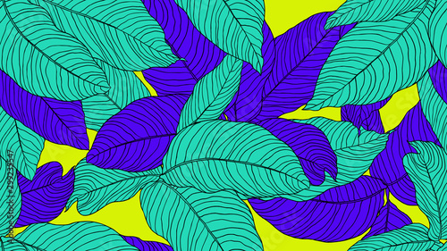 Foliage seamless pattern, leaves line art ink drawing in blue and green on yellow