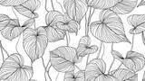 Wzór liści, pozostawia rysowanie linii atramentu sztuki w czerni i bieli - 299235934