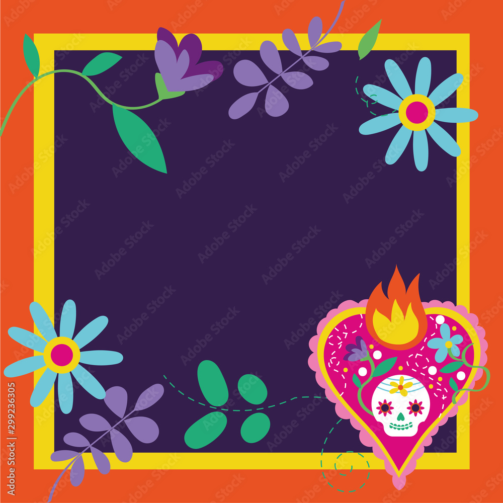Fototapety, obrazy: dia de los muertos card with heart flame and flowers frame