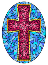 The Illustration In Stained Glass Style Painting On Religious Themes, Stained Glass Window In The Shape Of A Pink Christian Cross , On A Blue Background , Oval Image