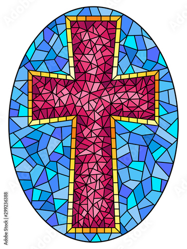 Fototapeta The illustration in stained glass style painting on religious themes, stained gl