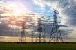 High voltage post,high voltage tower sky sunset landscape,industrial background.