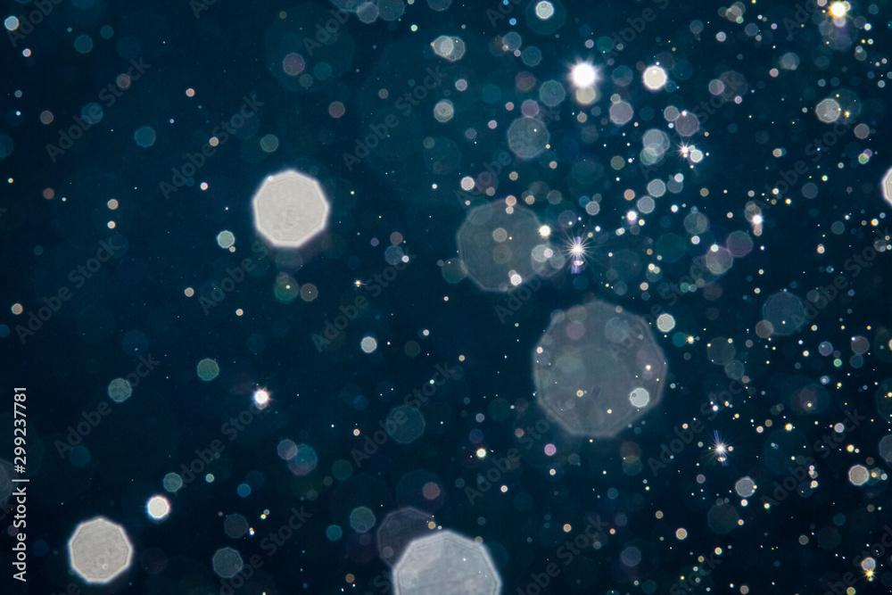 Fototapety, obrazy: Abstract blue light blur bokeh circles