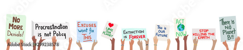 Fotografie, Obraz Banner of school children holding climate change protest signs in hands