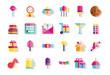 happy birthday celebration decoration icons set