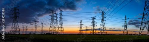 Fotografía High voltage electricity tower sky sunset landscape,industrial background