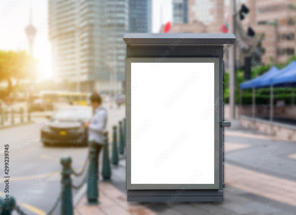 Fototapety, obrazy: Mockup image of bus stop billboard screen posters and led light box for advertising