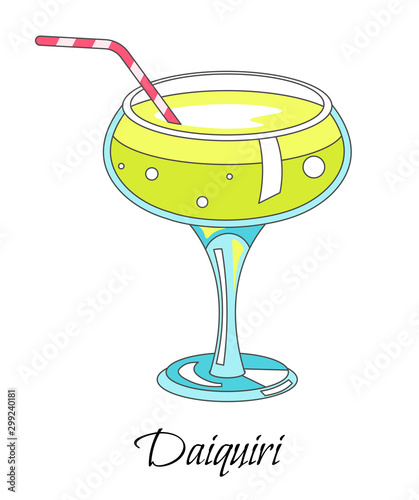 Bar cocktail, daiquiri drink with straw in glass, isolated icon