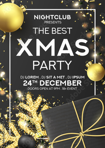 Xmas party flyer invitation. Holiday background with realistic black gift box, gold snowflake and sparkling light garlands. Vector illustration with Christmas baubles. Invitation to nightclub.