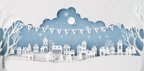 Papel de parede Winter Snow Urban Countryside Landscape City Village with full moon