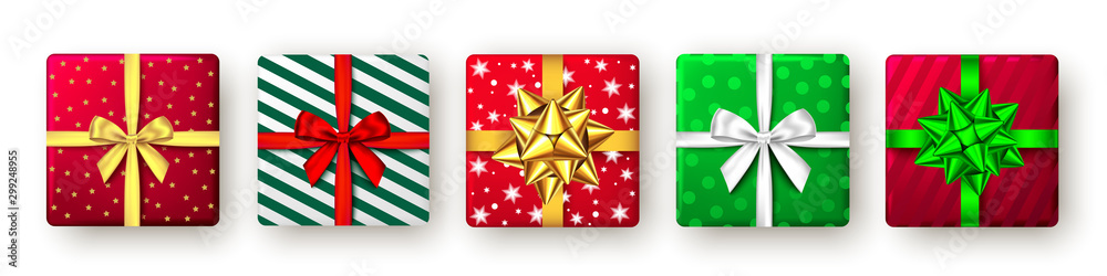 Fototapety, obrazy: Gift box with green, red, golden ribbon and bow, top view.