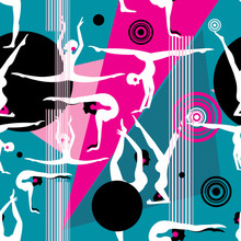 Seamless Bright Pattern Of Different Gymnasts