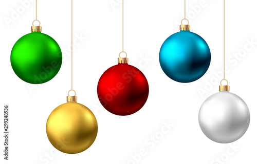 Photo Realistic  red, gold, green, blue, silver Christmas  balls  isolated on white background