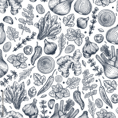 Fototapeta Herbs and spices seamless pattern. Ginger, spinach, onion, pepper, garlic, fennel, basil, oregano. Vector illustration obraz